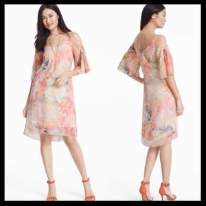 WHBM Cold-Shoulder Pleated Sleeve Watercolor Dress